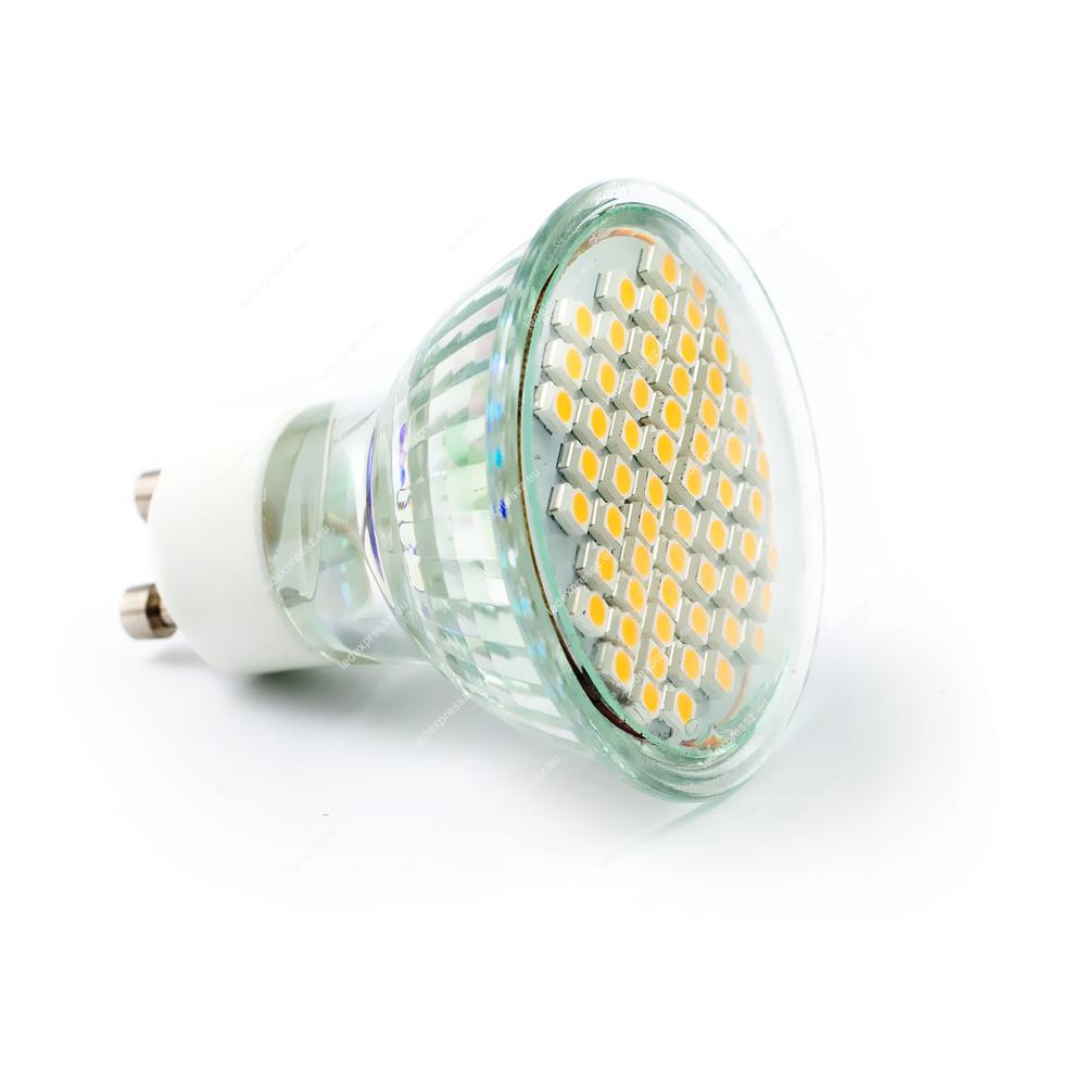 LED GU10 5W 60 smd meleg fehér 230V