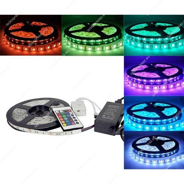 LED SZALAG RGB SZINVÁLTÓS, 5 MÉTER KOMPLETT SZETT, 60 led/m