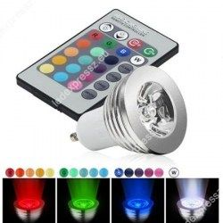 Led GU10 power spot égő, 1 led, 20-200 Lumen, 3W, 45°, RGB, ledexpressz.eu