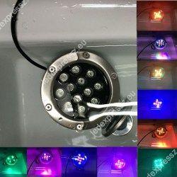 Led lépésálló lámpa AC24V, 12W, 960 Lumen, 30°, süllyesztett, IP67 vízálló, RGB, ledexpressz.eu
