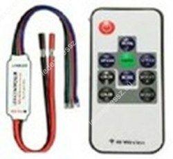 Mini led szalag vezerlő rádiós 10 gomb, 12A, 72W 3 csatorna, ledexpressz.eu
